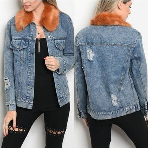 Very J Light Distressed Denim Faux Fur Collar Jack